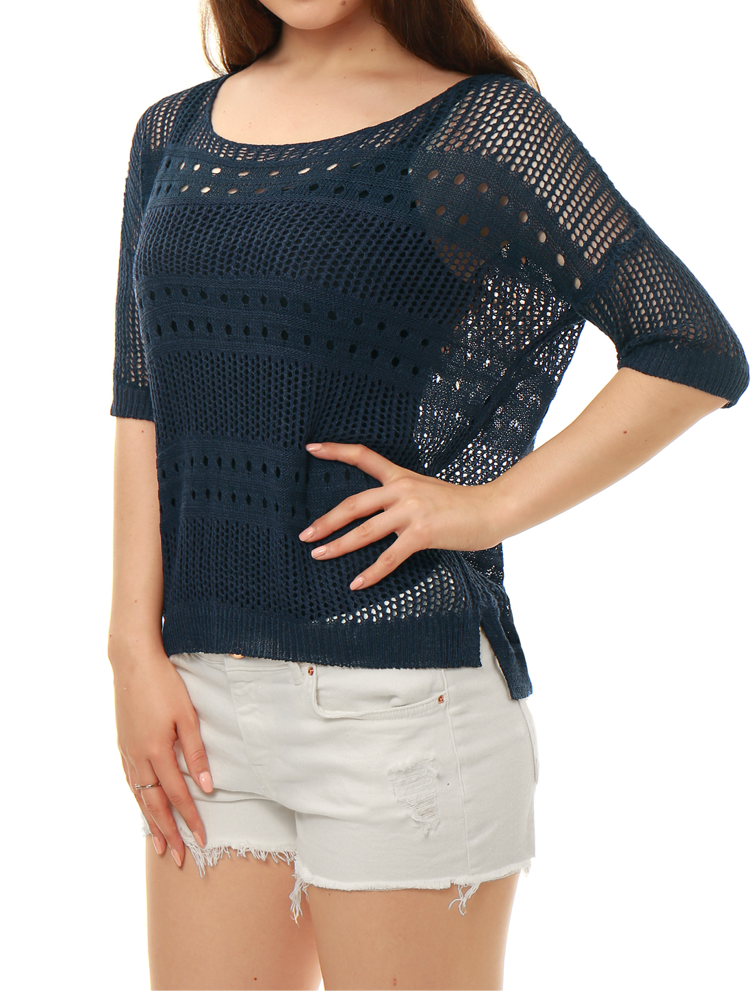 Ladies Elbow Sleeves Hollow Out High Low Hem Knit Shirt Blue M