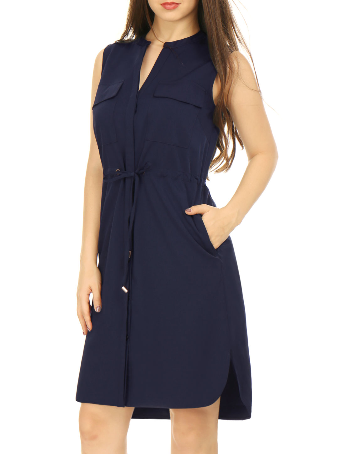 Woman Drawstring Waist V Neck Sleeveless Unlined Shirt Dress Navy Blue S