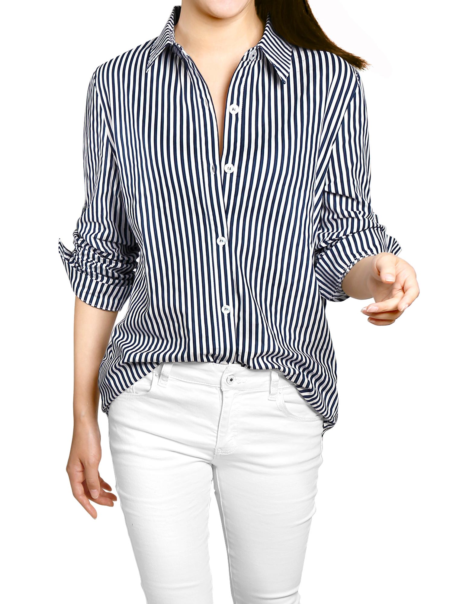 Women Striped High Low Hem Roll Up Sleeves Shirt Dark Blue White L