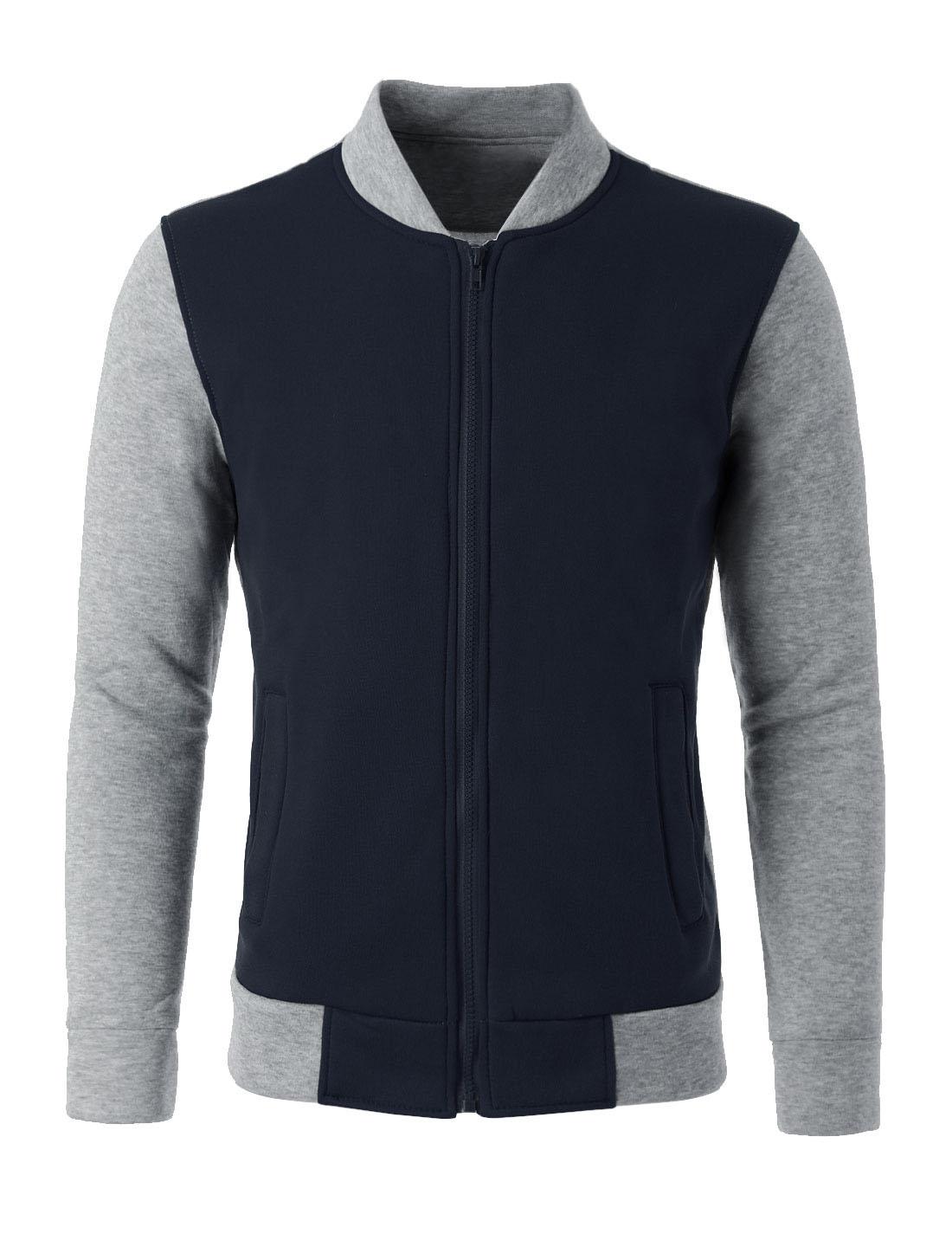 Men Color Block Long Sleeve Zip Up Casual Varsity Jacket Navy Blue Gray M