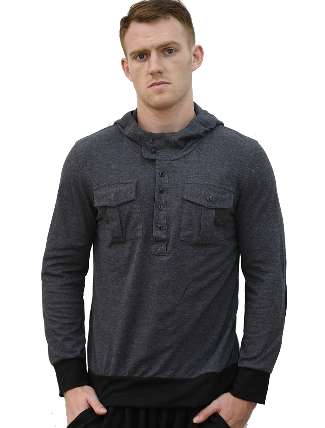 Men Buttoned Pockets Placket Front Slim Fit Hoodies Tee Shirt Dark Gray M