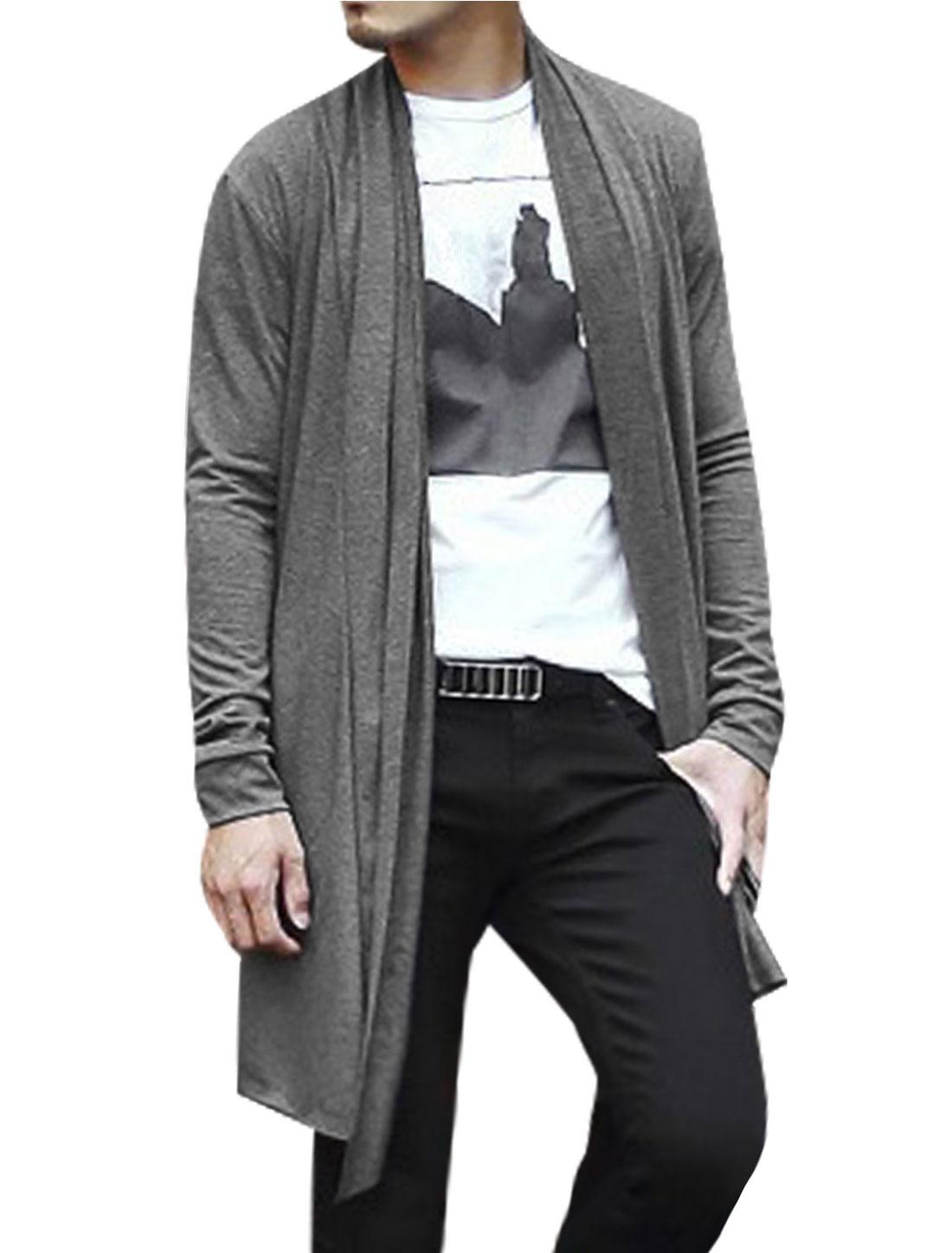 Men Open Front Long Sleeve High-Low Hem Long Cardigans Gray L
