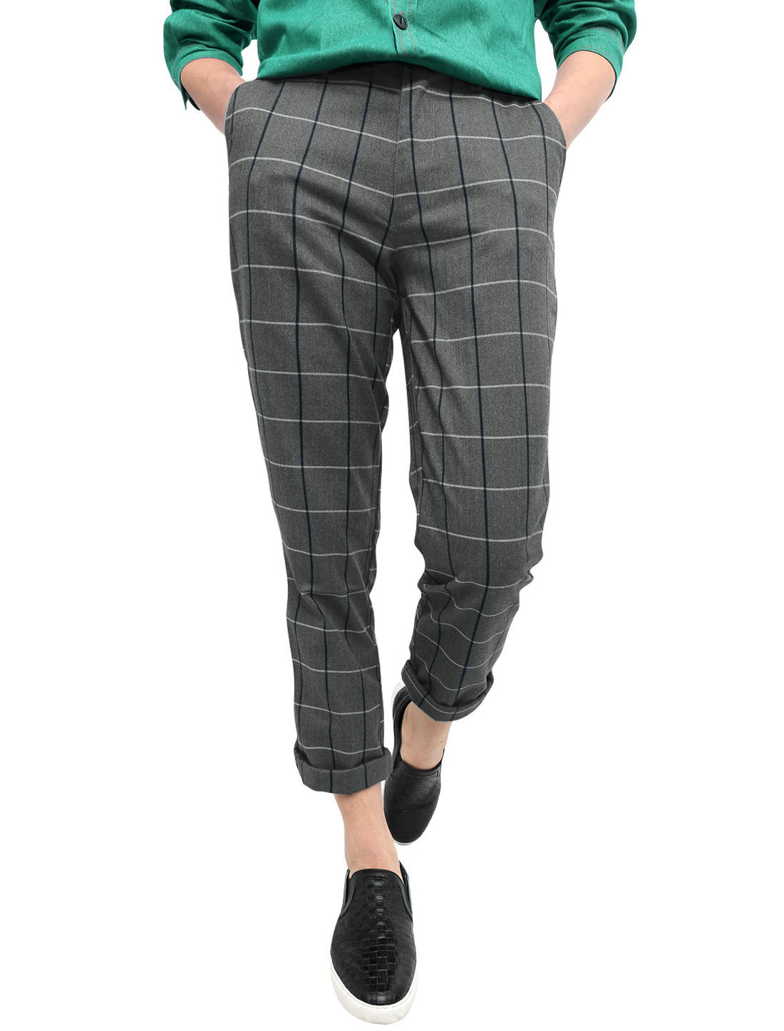 Men Mid Waisted Checks Print Front Pockets Slim Fit Trousers Dark Gray W30