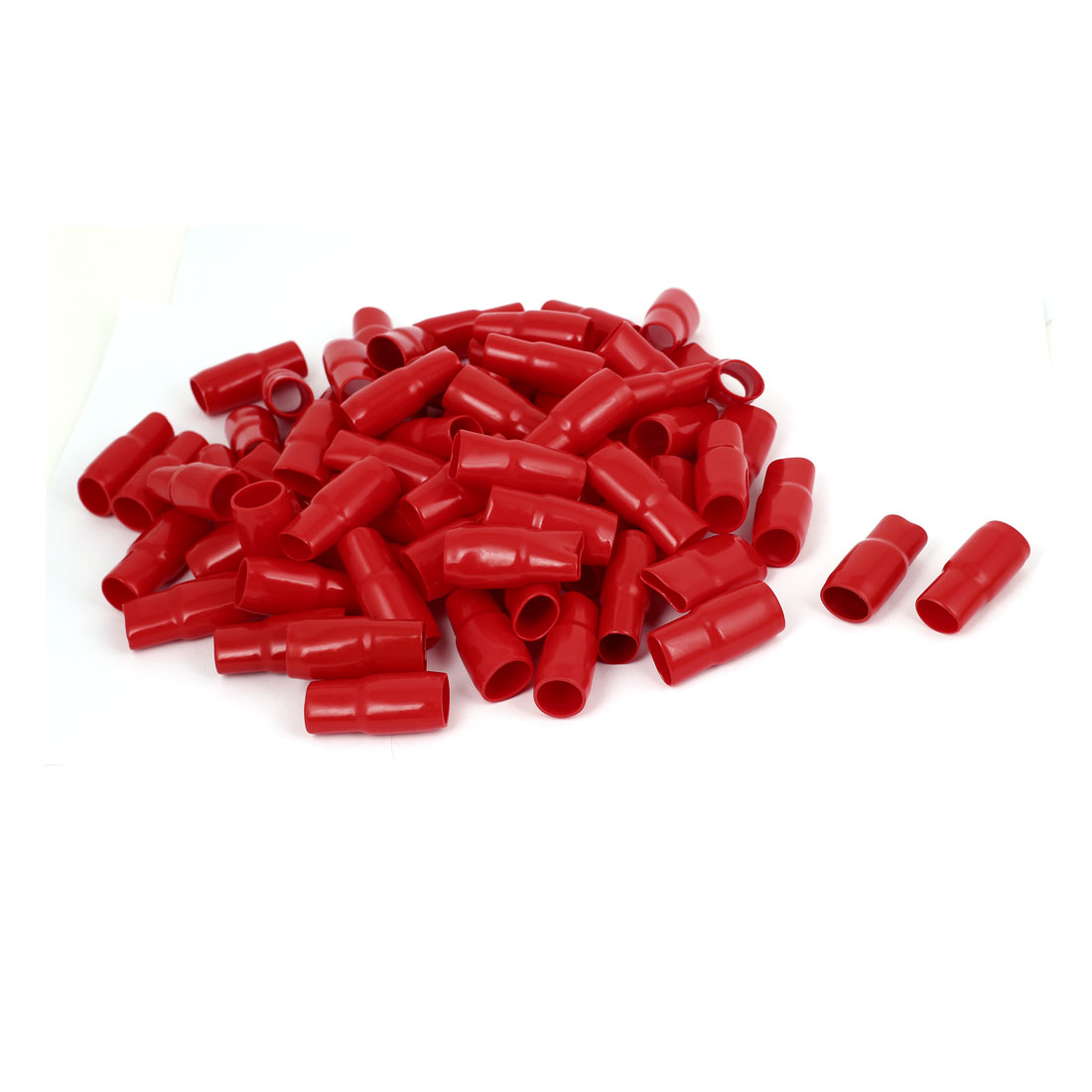 100pcs Red PVC Straight Type Terminal Wire Sleeve Protective Insulated Covers