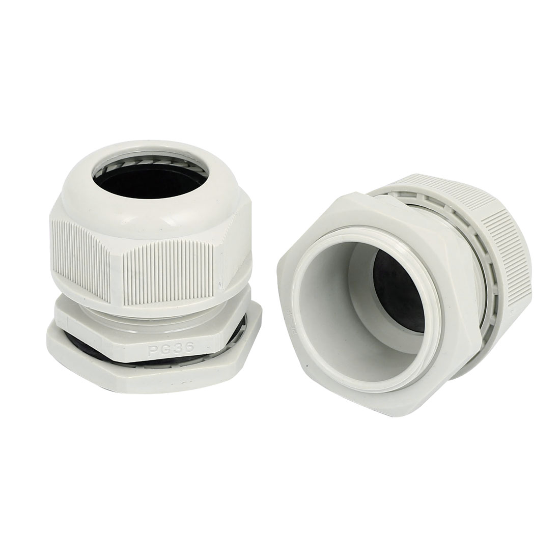 PG36 22-32mm Range Waterproof Cable Gland Cord Fixing Connect Connector Locknut 2pcs White