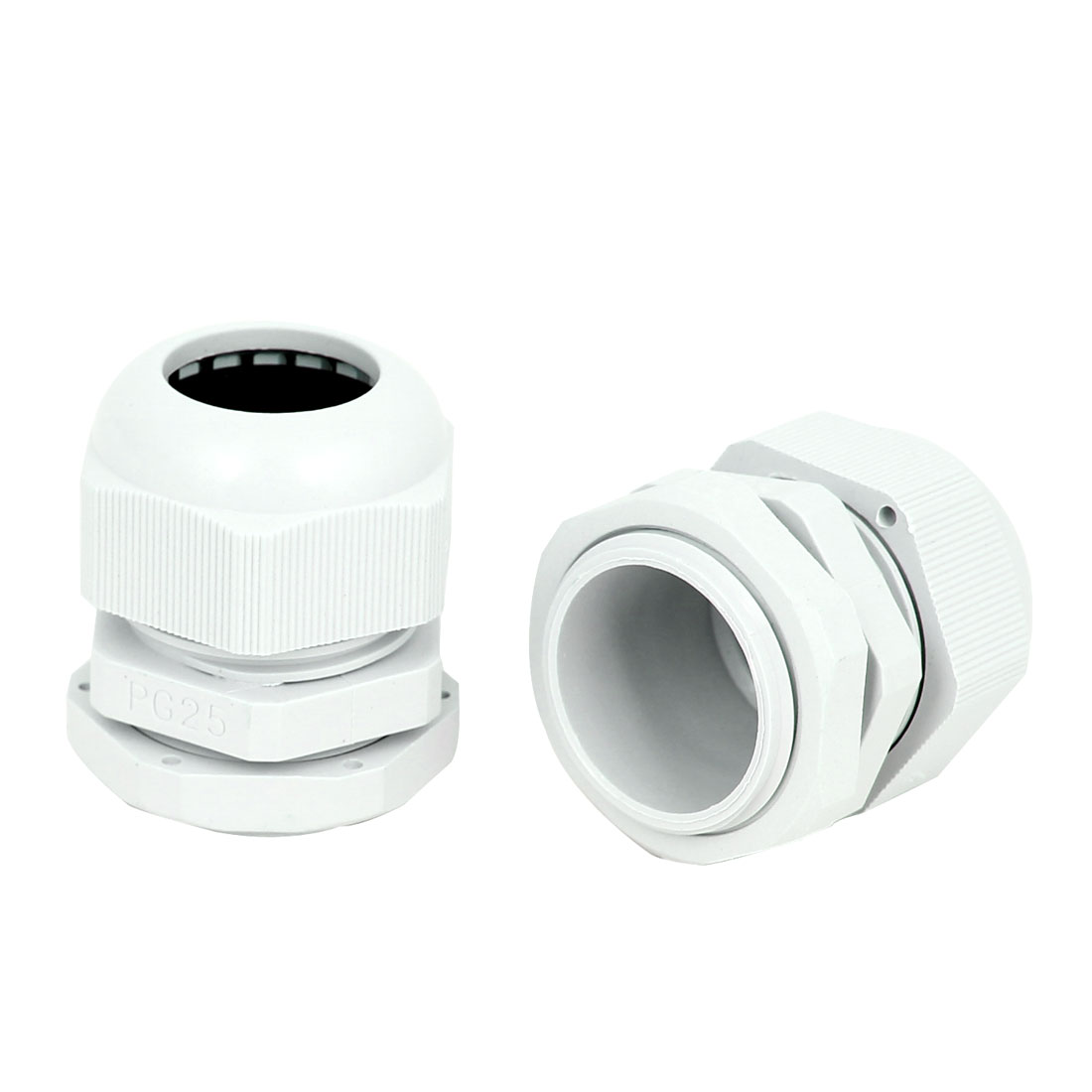 2 Pcs PG25 30mm Male Thread Dia Waterproof Cable Glands Fixing Connector Adapter Fastener White