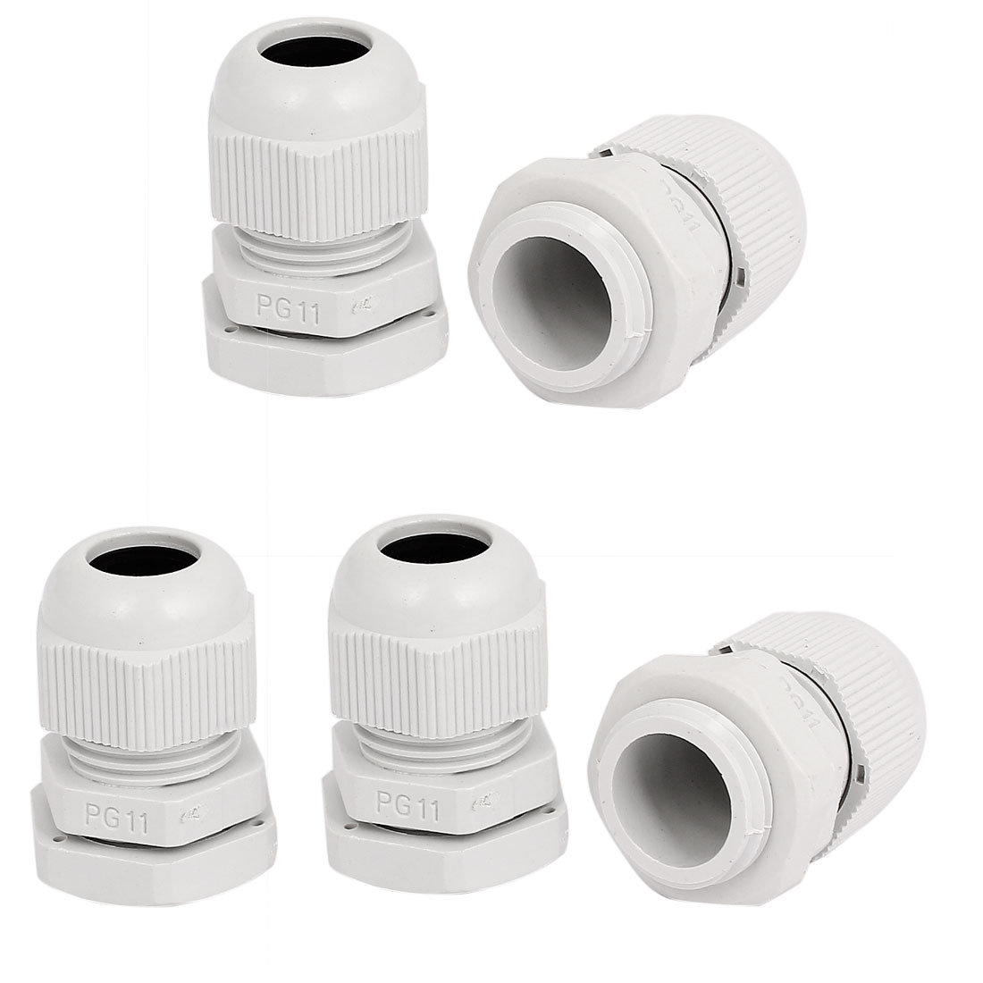 5pcs White Plastic PG11 5-10mm 18.2mm Male Thread Dia Waterproof Cable Glands Joints Fastener