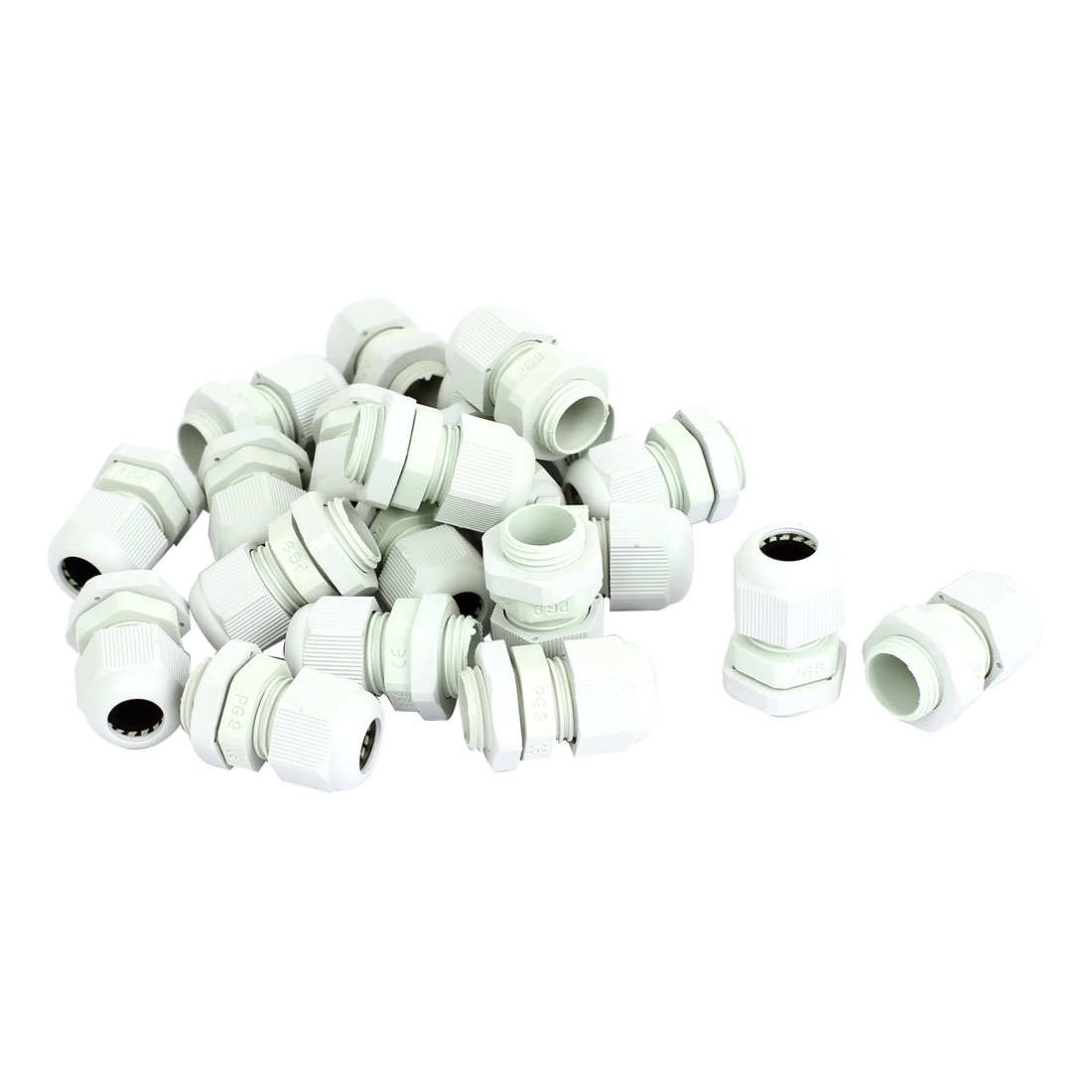 20 Pcs White Plastic PG9 3.5-8mm 16mm Male Thread Dia Waterproof Cable Glands Adapter Fastener