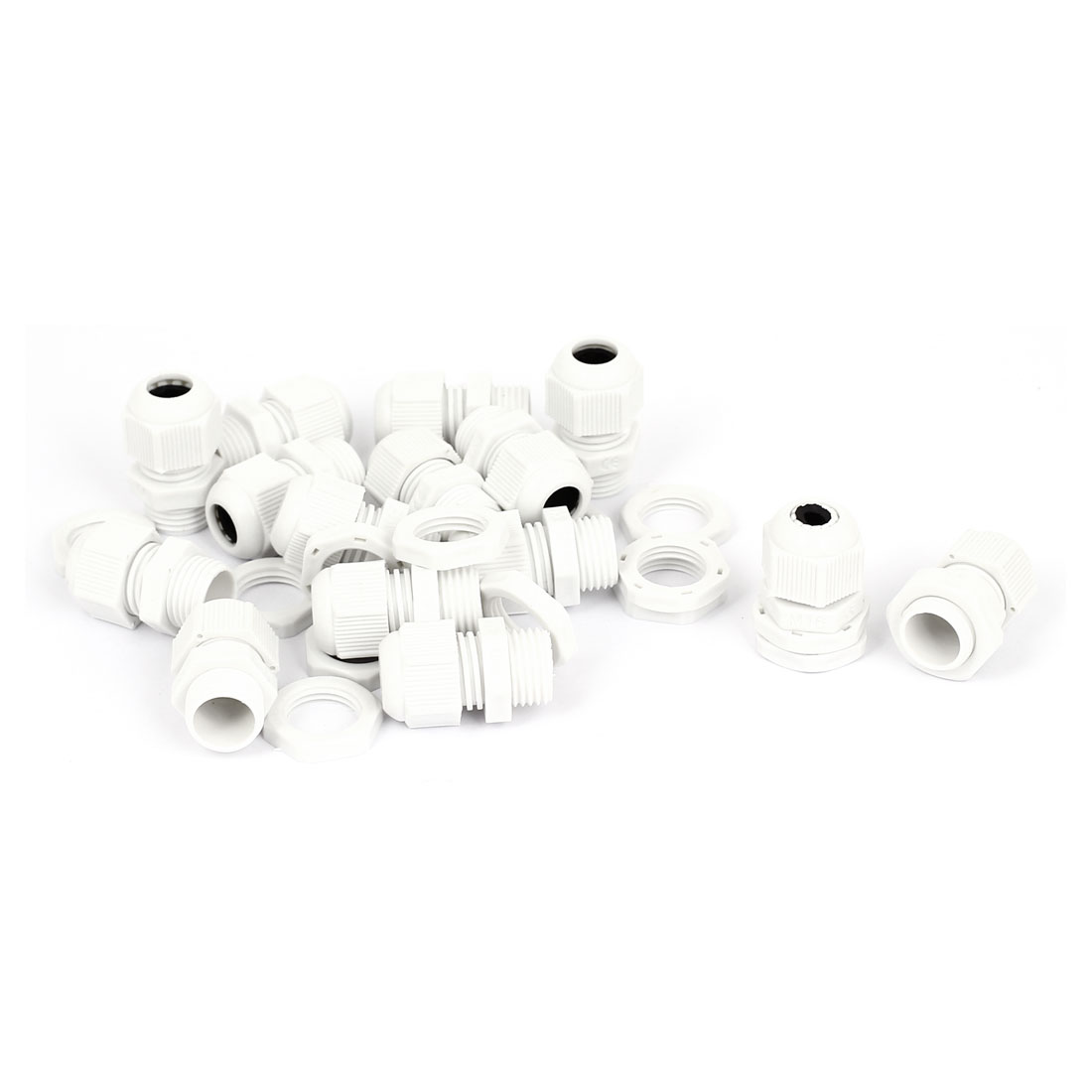 15 Pcs White Plastic PG9 16mm Male Thread Dia Waterproof Locknut Stuffing Cable Glands Fastener