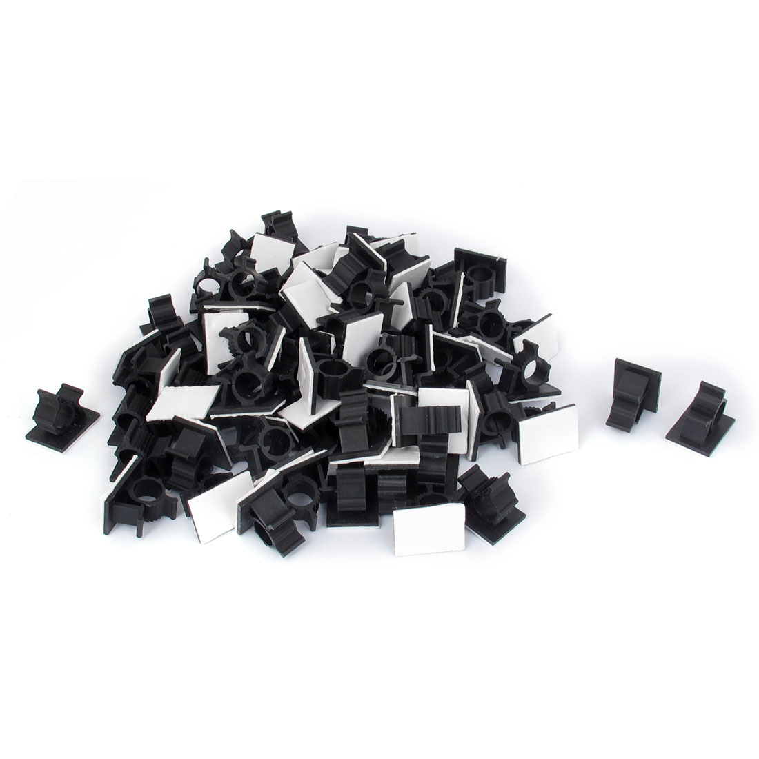 100 Pcs Black Plastic Self Adhesive Cable Cord Tie Mount Base Holder 25mm x 20mm