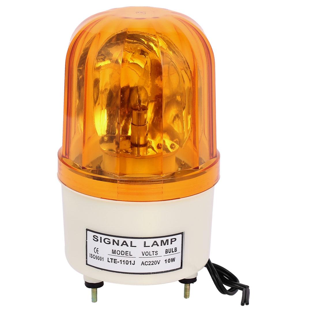 AC 220V 10W Industrial Safety Rotary Lamp Strobe Signal Warning Flashing Light Yellow