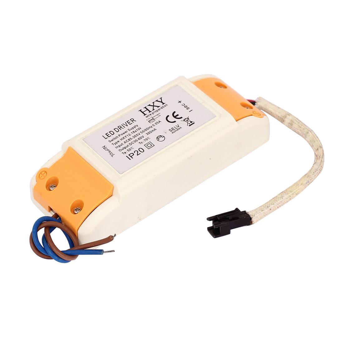 AC 85-265V DC 30-60V 300mA 12-18x1W LED Strip Light Driver Power Supply Converter Adapter