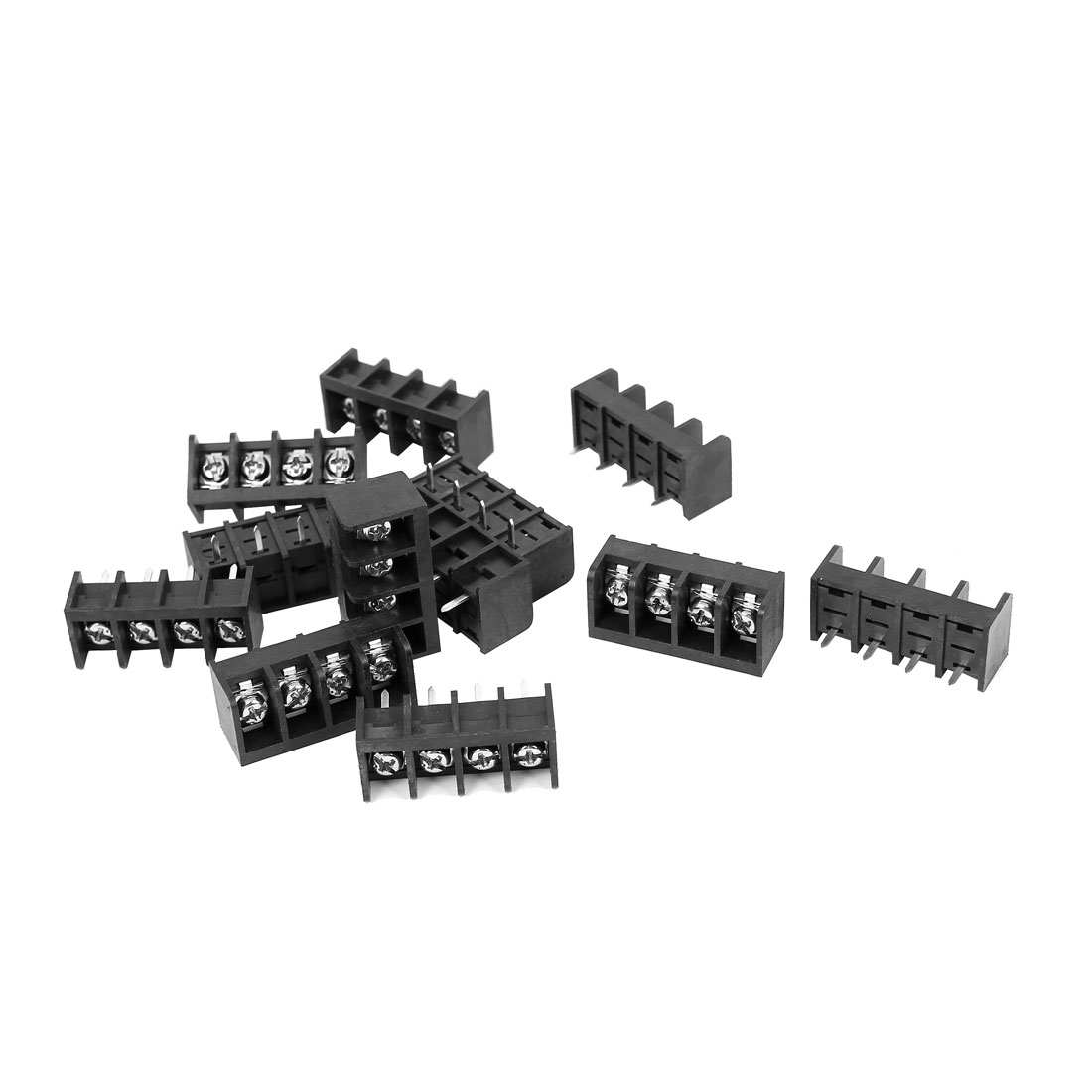 300V 25A 4 Way 9.5mm Spacing PCB Mounted Screw Terminal Block Connector 12pcs Black