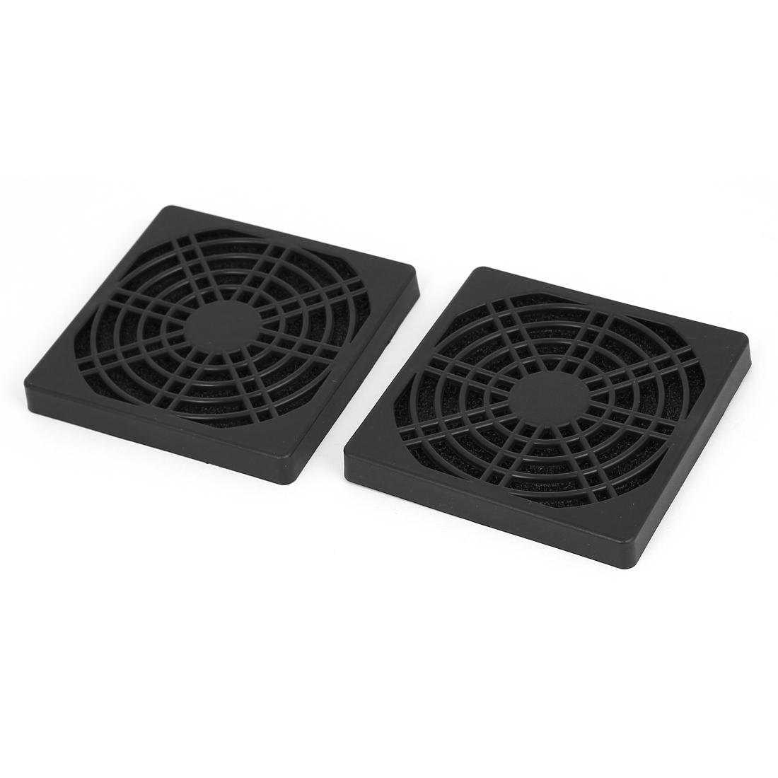 2pcs 85mm Black Plastic Computer PC Dustproof Cooler Cooling Fan Case Cover Dust Filter Protector Net