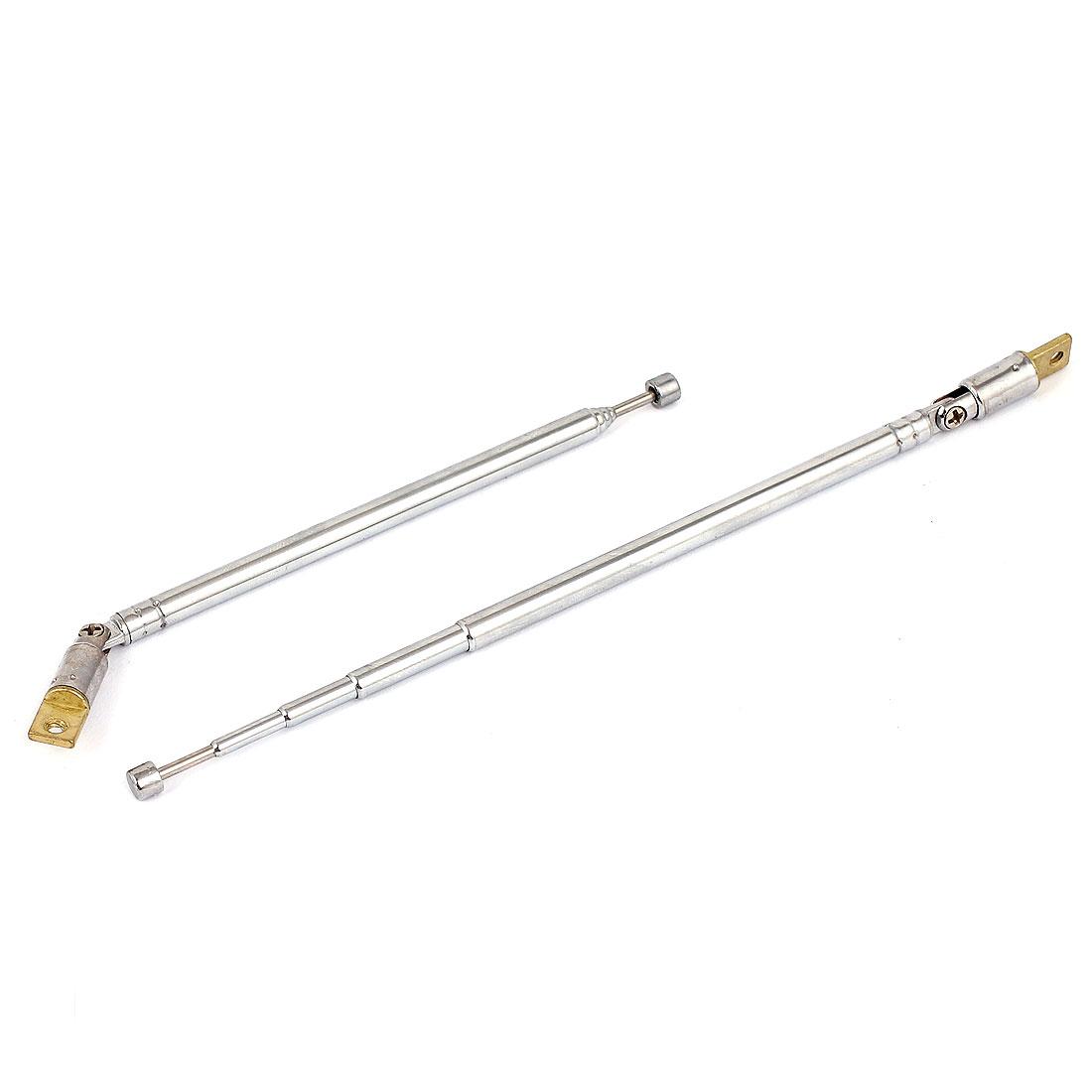 2pcs 38cm Long Rotated 360 Degree 5 Sections Telescopic Antenna Aerial Mast for FM AM Radio