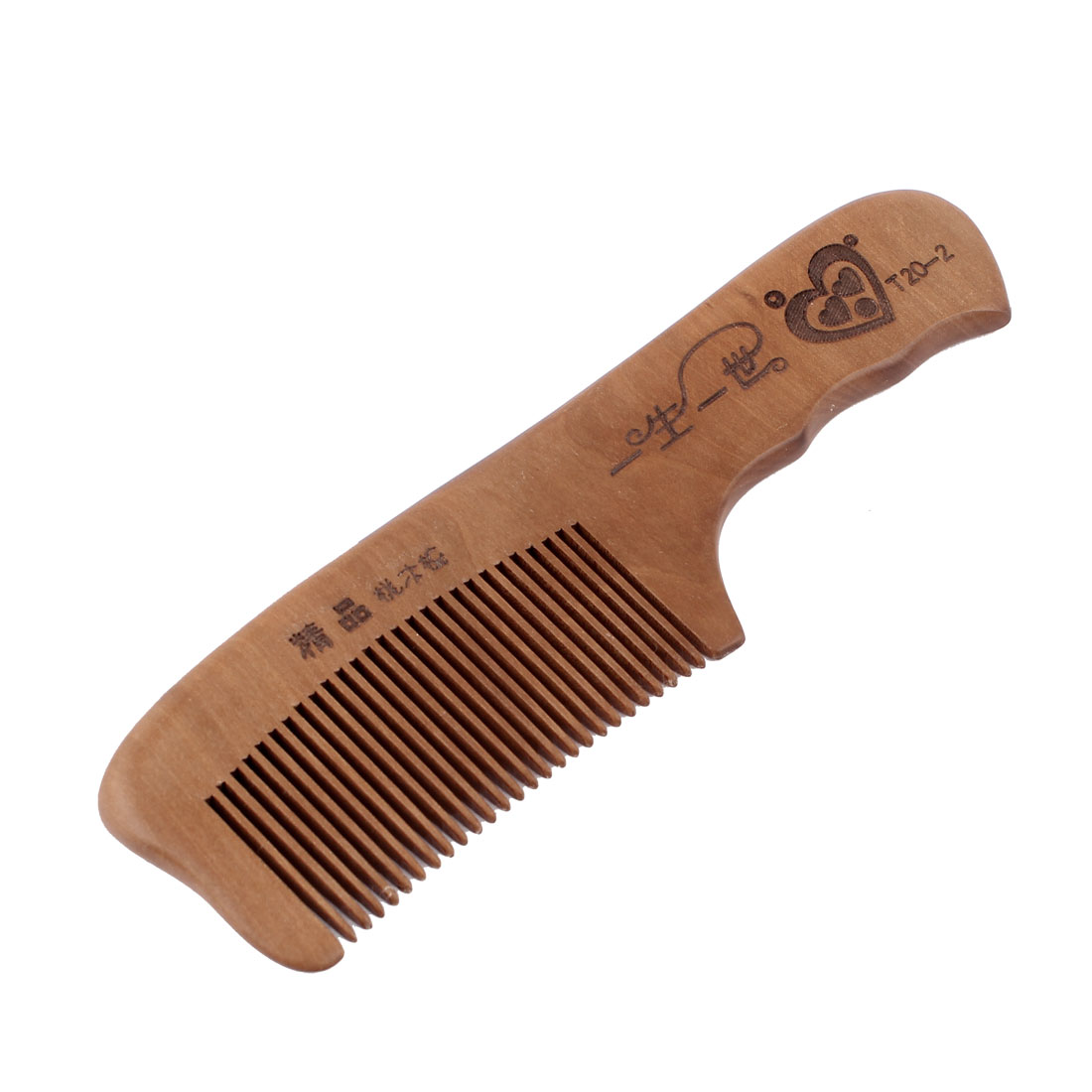 Dark Brown Carved Characters and Hearts Printed Peach Wooden Comb