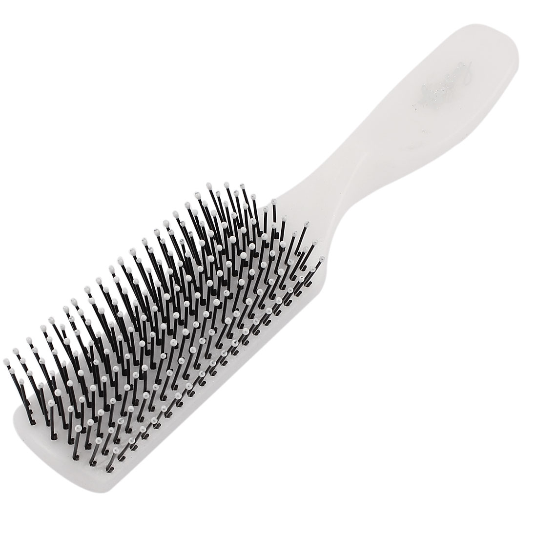 White Plastic Handle 9 Rows Hairdressing Curly Hair Comb