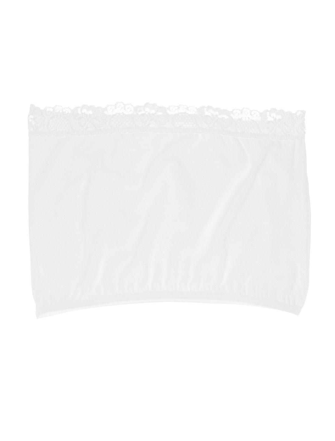 Lady White Lace Trim Basic Strapless No Pad Tube Bra Bandeau Top XS