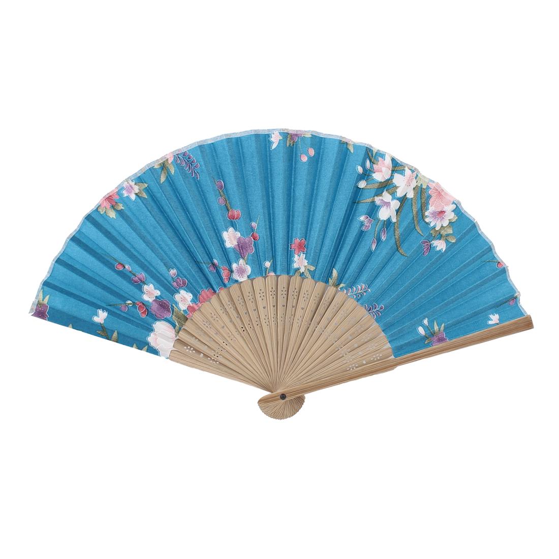 Wood Frame Flower Pattern Oriental Summer Folding Hand Fan Teal Blue Beige