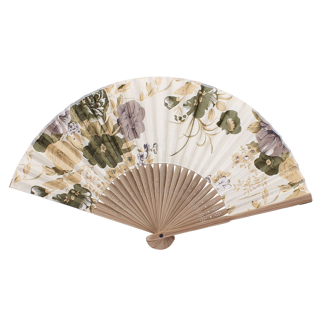 Wood Frame Flower Pattern Summer Dancing Folding Hand Fan Off White Beige