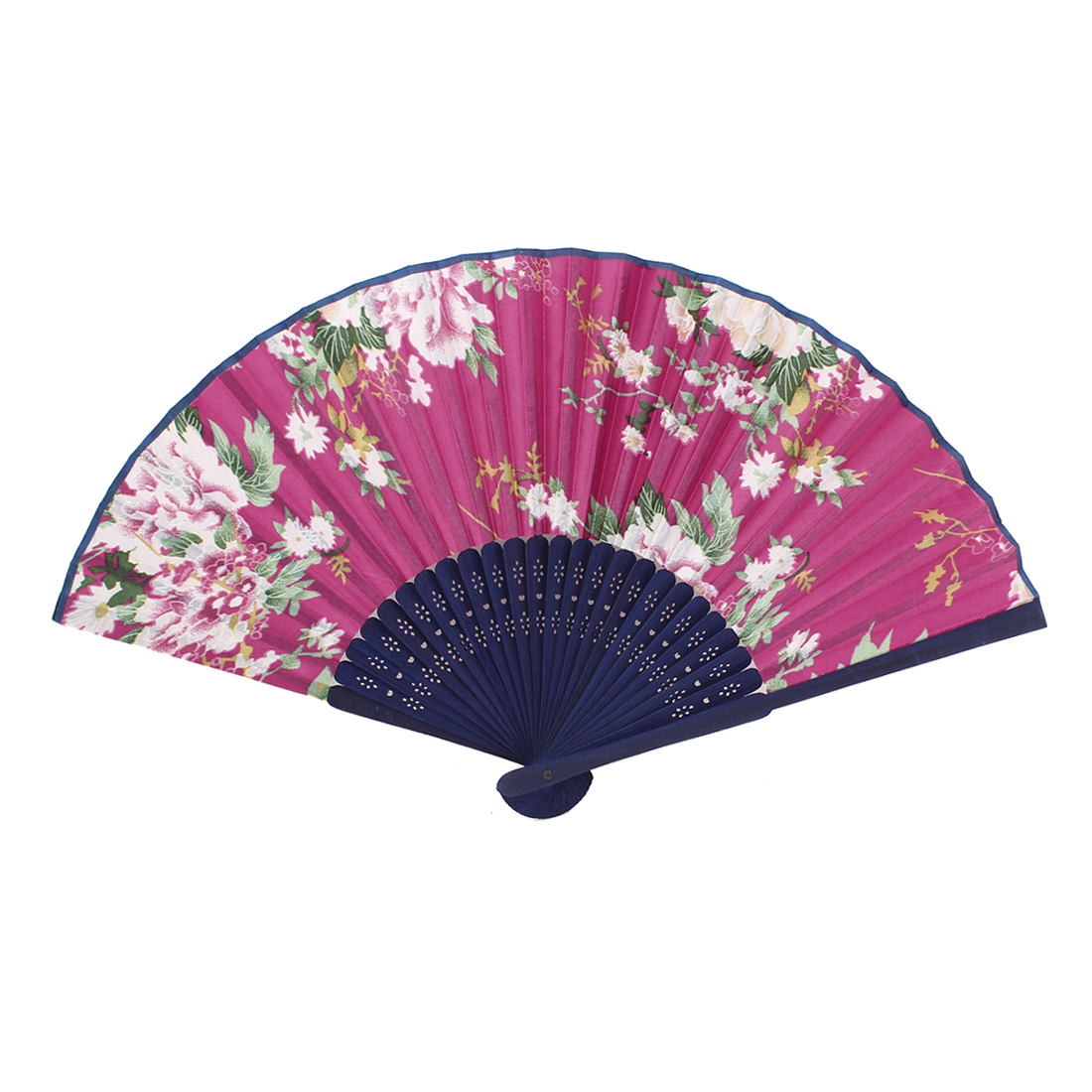 Wood Ribs Chinese Style Bridal Party Summer Folding Hand Fan Fuchsia Royal Blue
