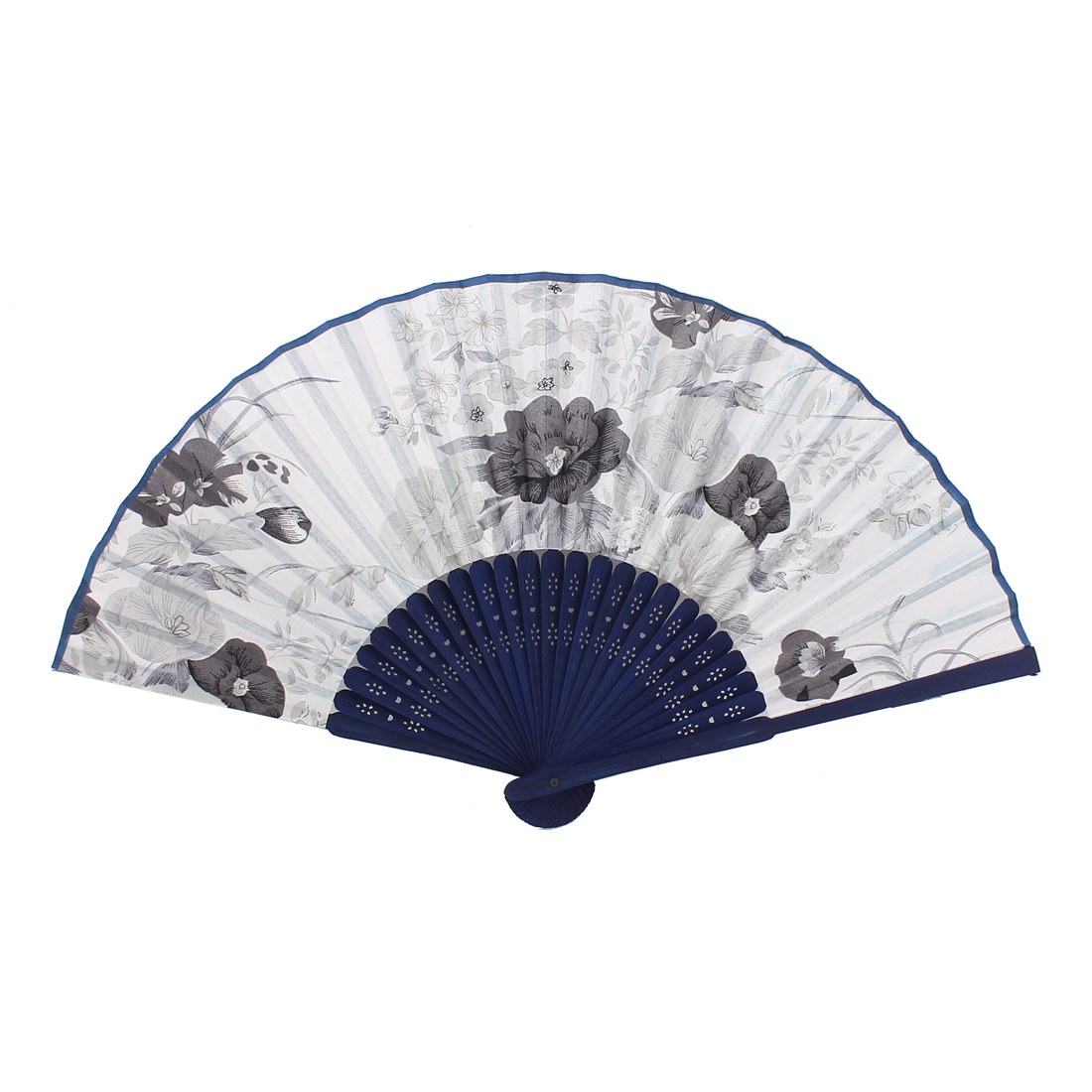Wood Ribs Chinese Style Bridal Party Summer Folding Hand Fan White Royal Blue