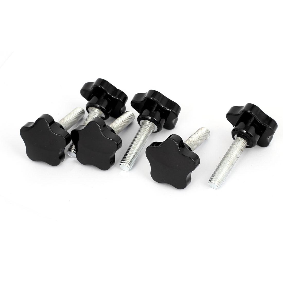 50mm Plastic Star Head M12x50mm Male Thread Screw on Clamping Knob Grips 6pcs
