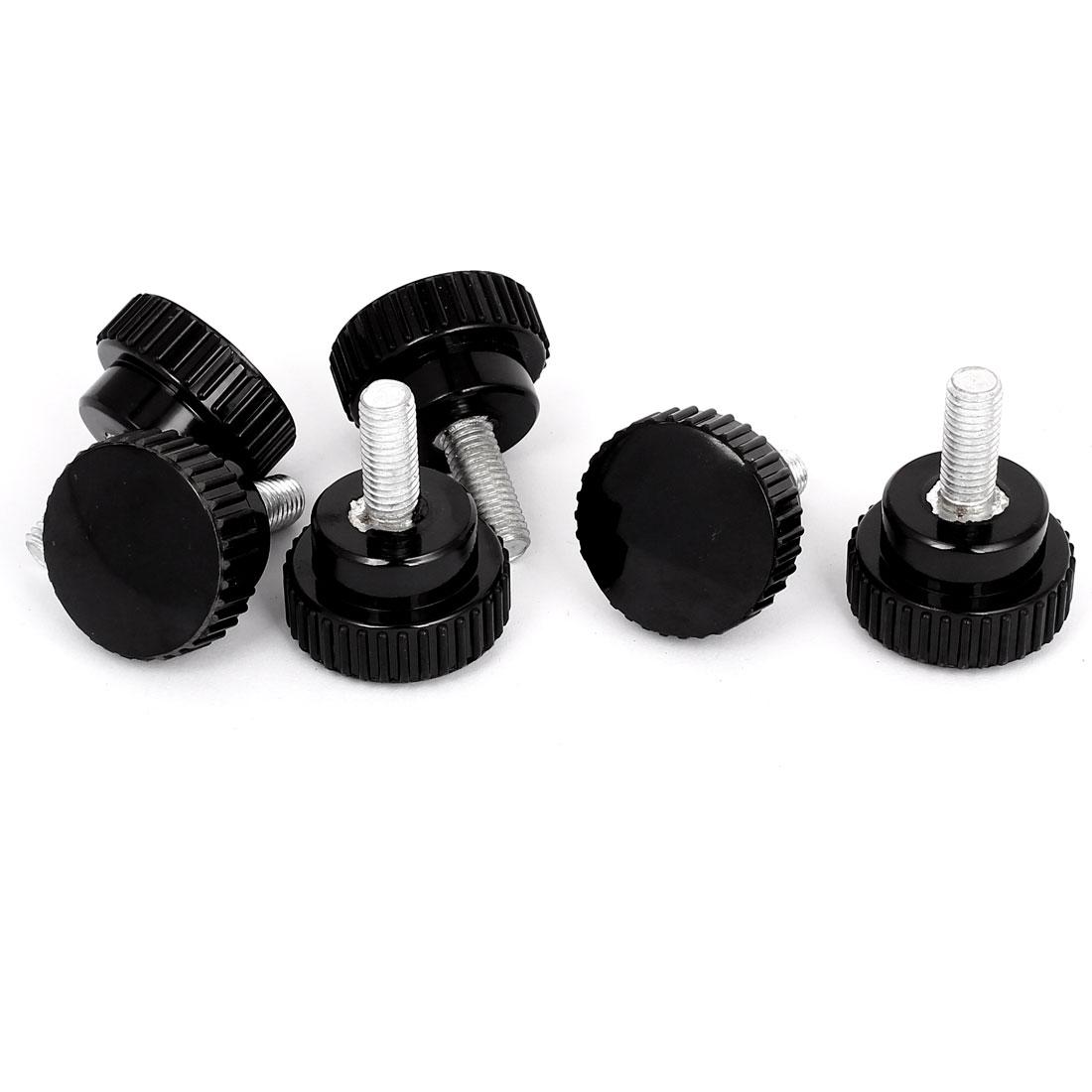 40mm Plastic Round Head 10mmx25mm Male Thread Screw on Clamping Knob Grip 6pcs