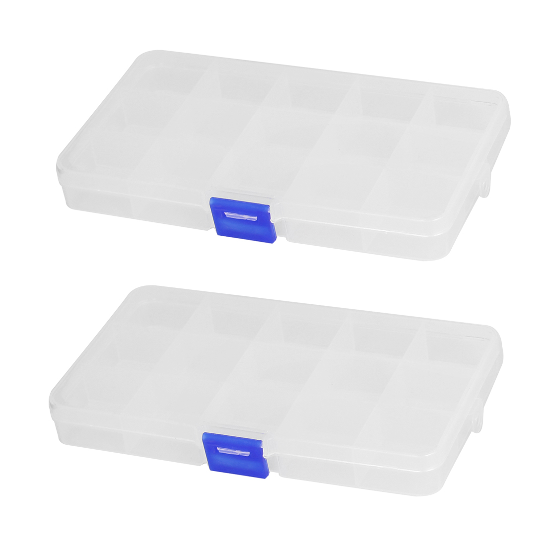 Clear Blue Plastic 15 Sections Jewelry Screws Pills Holder Storage Box 2pcs