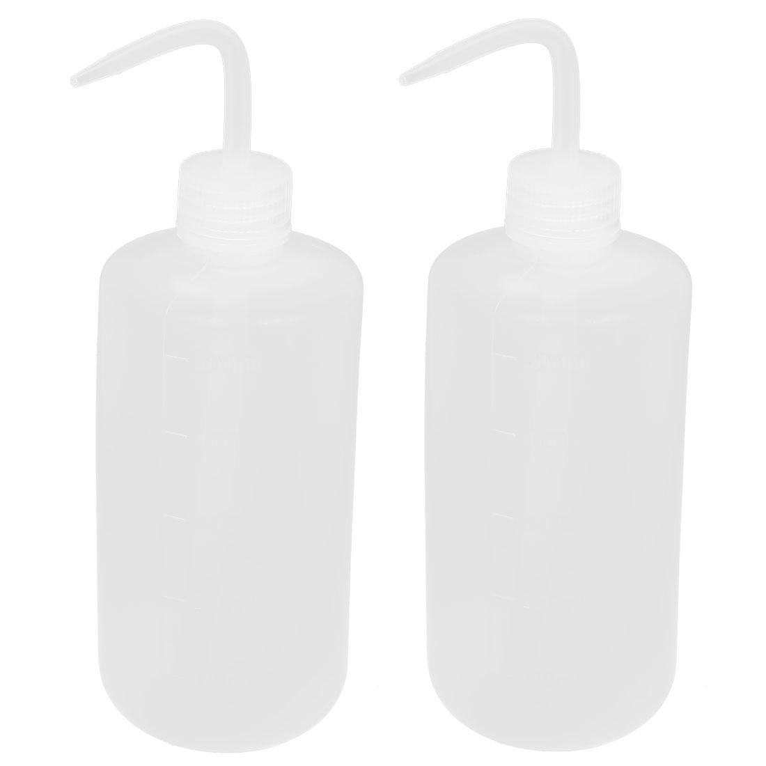 Lab Right Angle Bent Tip Plastic Liquid Storage Squeeze Bottle Dispenser 500mL 2pcs