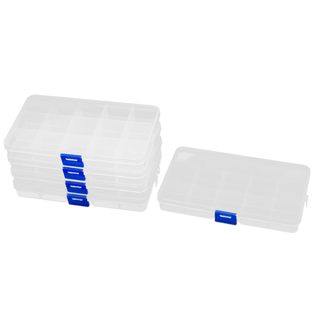 Clear Blue Plastic 15 Sections Jewelry Screws Pills Holder Storage Box 5pcs