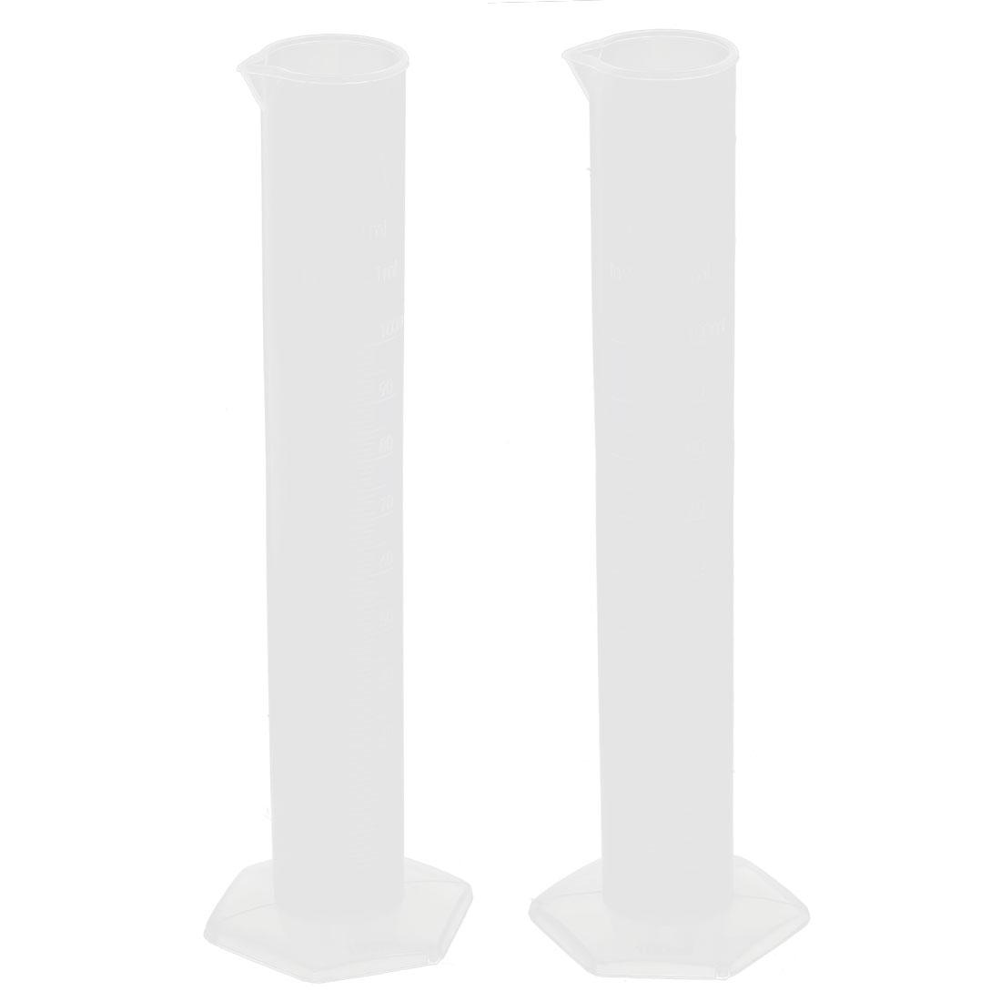 Lab Test 100ml Transparent Plastic Graduated Cylinder Measuring Cup 2pcs