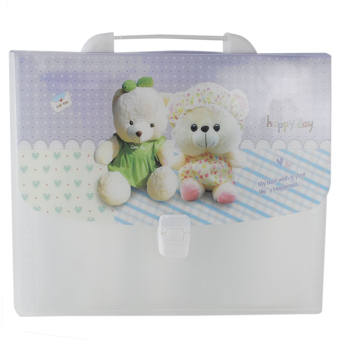 Plastic Bears Printed 13 Pockets Paper Document File Holder Wallet Colorful