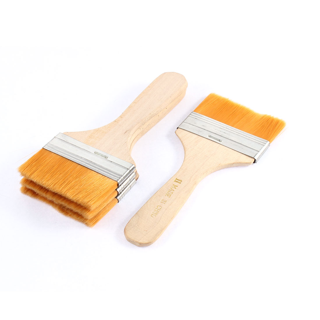 7cm Width Orange Faux Fur Hair Wood Handle Metal Ferrule Painting Brush 4 Pcs