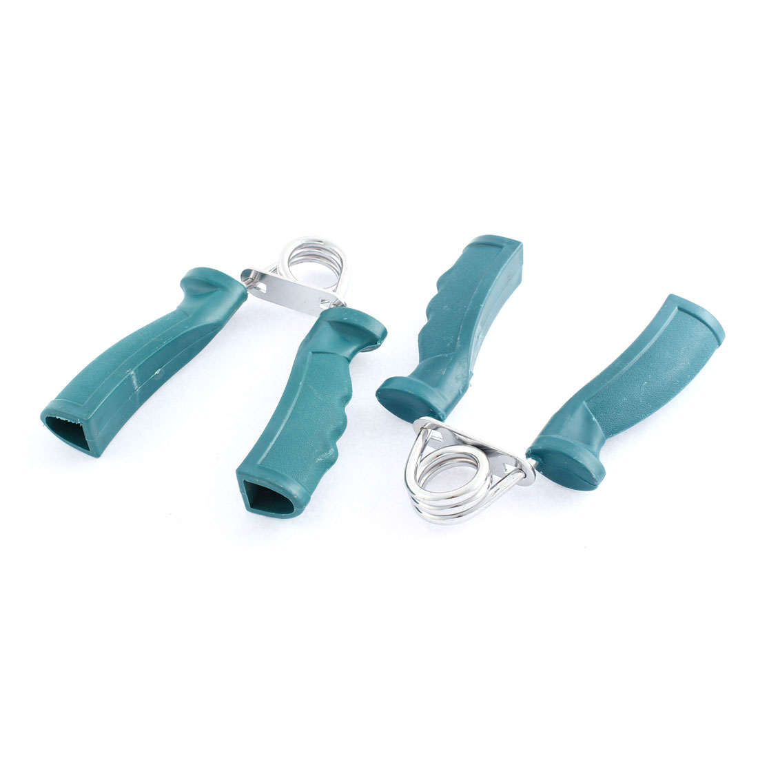 Plastic Nonslip Handle Fitness Exercise Arm Train Strength Hand Grip 2 Pcs Dark Green