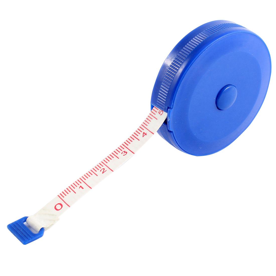 150cm 60 Inch Plastic Round Shape Press Button Retractable Tape Measure Blue