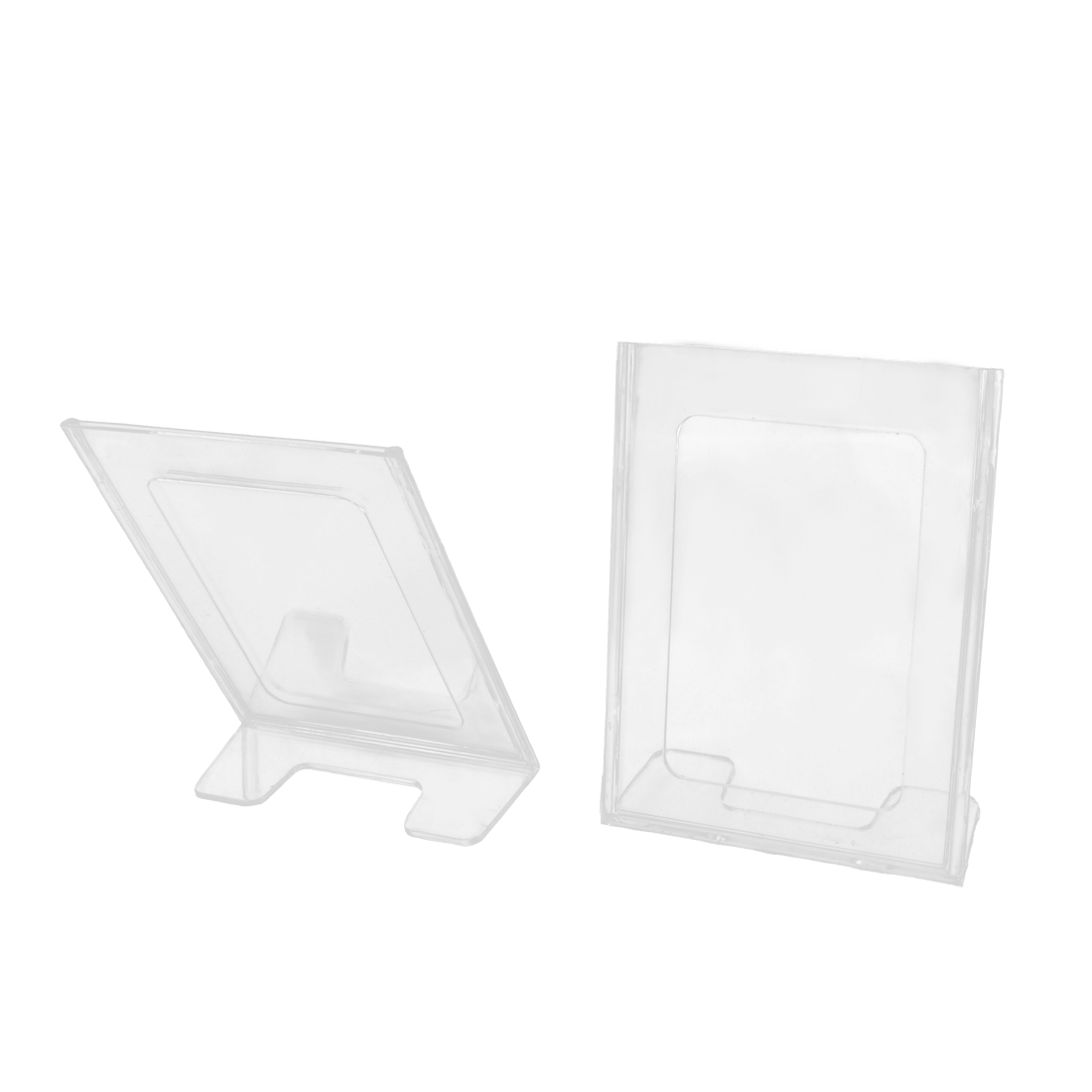 Office L-Shaped Clear Plastic Photos Display Meeting Card Holder Stand 2 Pcs