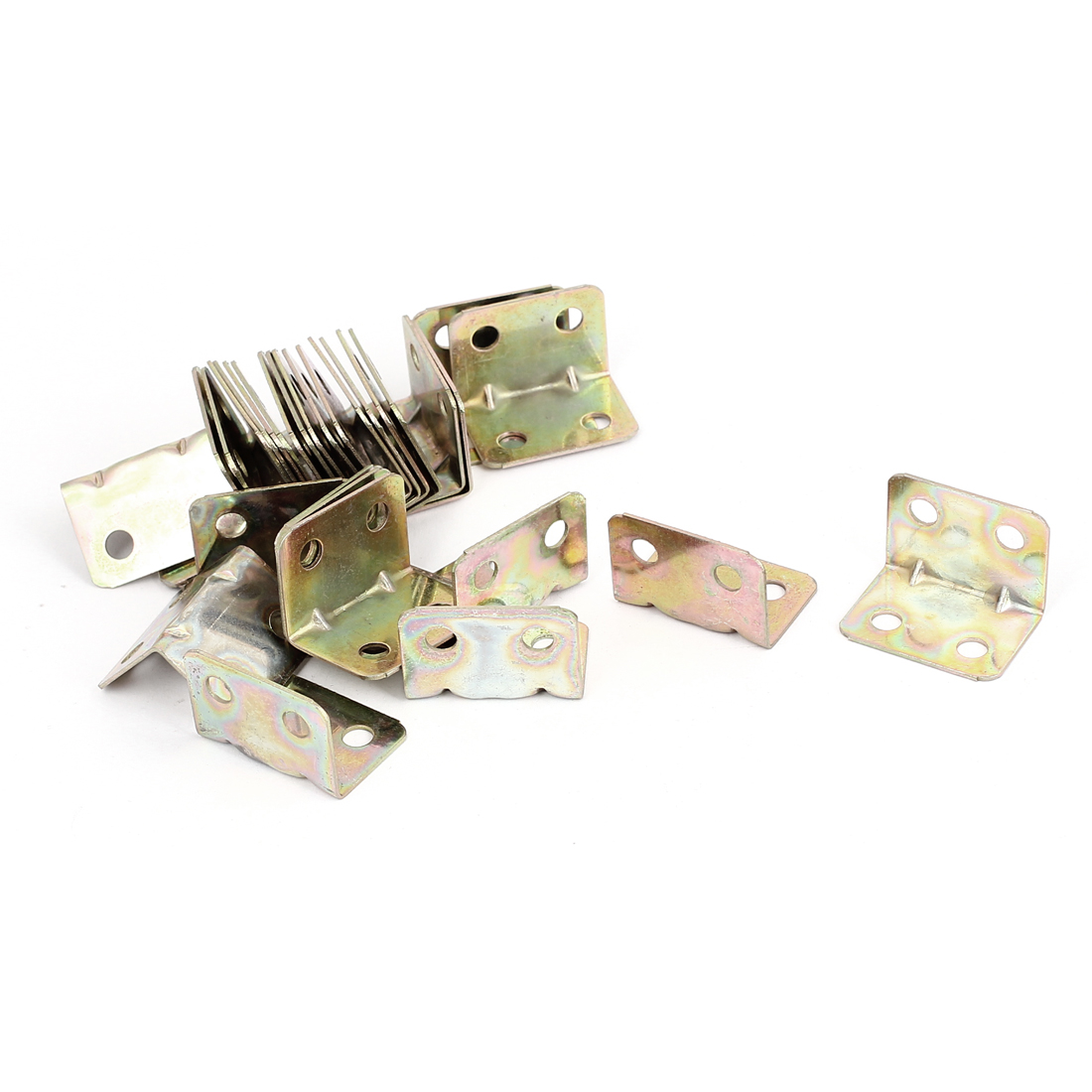 20mmx20mm L Shape Shelf Corner Brace Plate Right Angle Bracket Bronze Tone 30pcs
