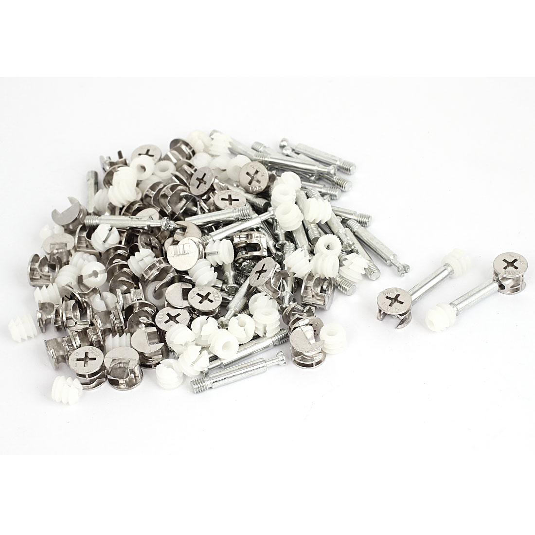 50 Sets Furniture Connectors Cam Fittings w Dowels w Pre-inserted Nuts