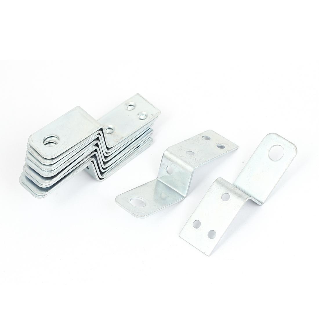70mmx18mm Z Shape Shelf Corner Brace Plate Right Angle Bracket Silver Tone 10pcs