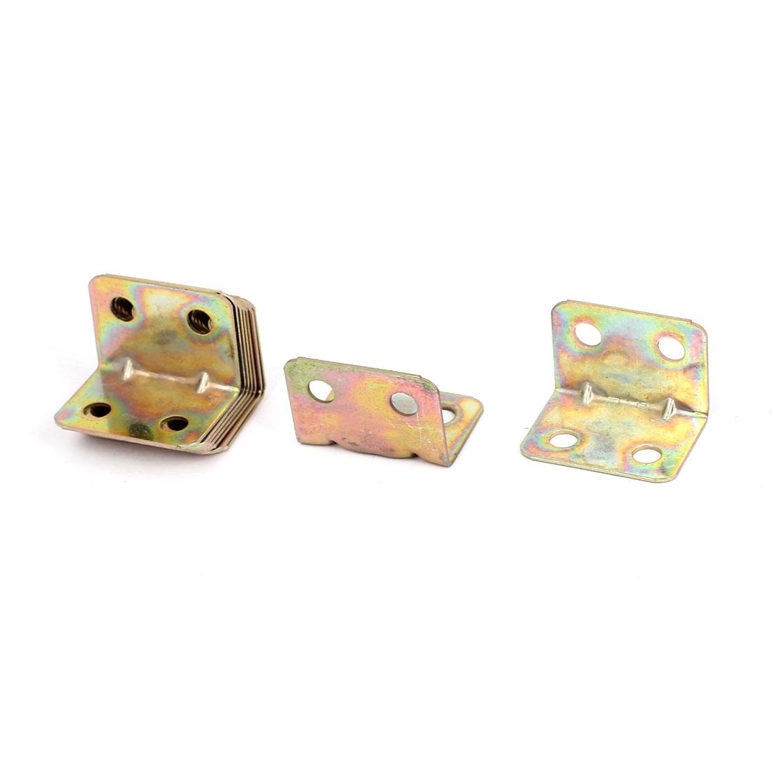 20mmx20mm L Shape Shelf Corner Brace Plate Right Angle Bracket Bronze Tone 10pcs