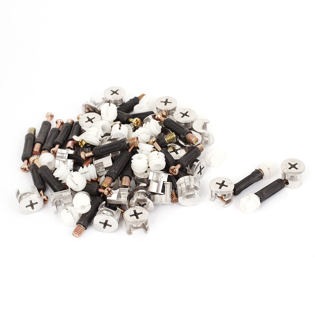 Furniture Connector 15mm Dia Cam Fittings Pre-inserted Nuts Dowels 30 Sets