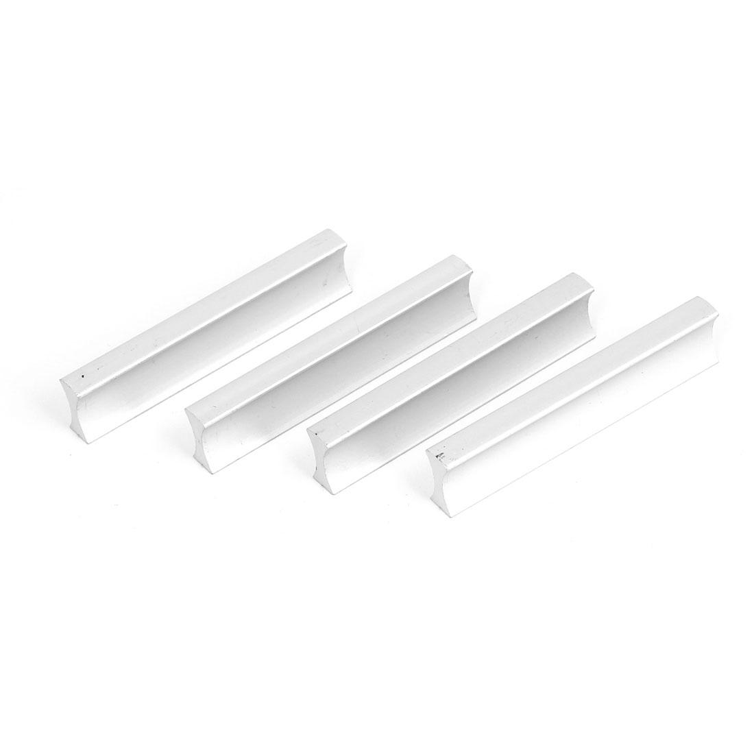 Cabinet Drawer Dresser Cupboard Aluminium Handlebar Pull Handle Silver Tone 4pcs