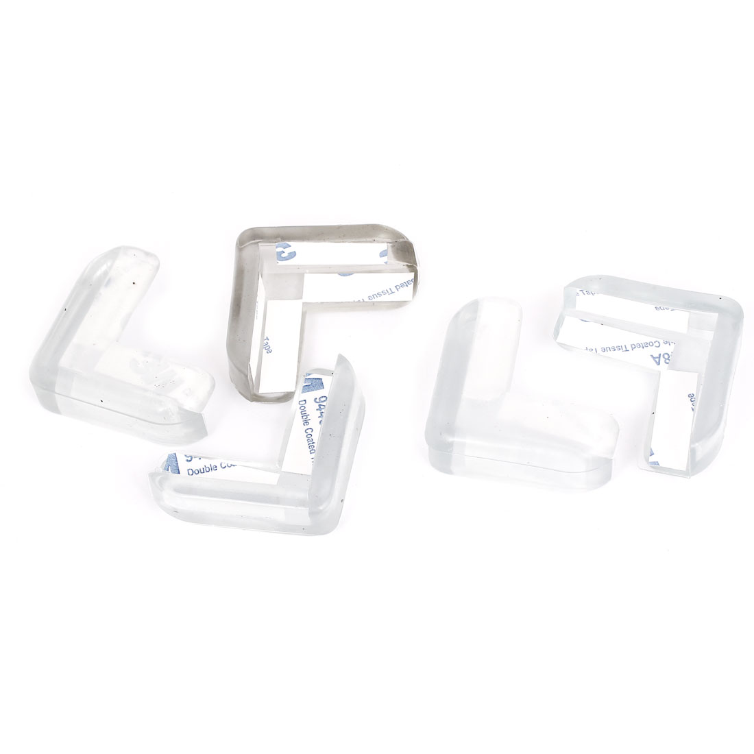 Table Desk Edge Guard Protector Rubber Corner Cushion Pad Clear Blue 5pcs