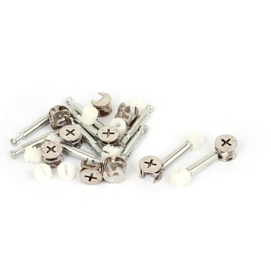 10 Sets Furniture Connectors Cam Fittings w Dowels w Pre-inserted Nuts