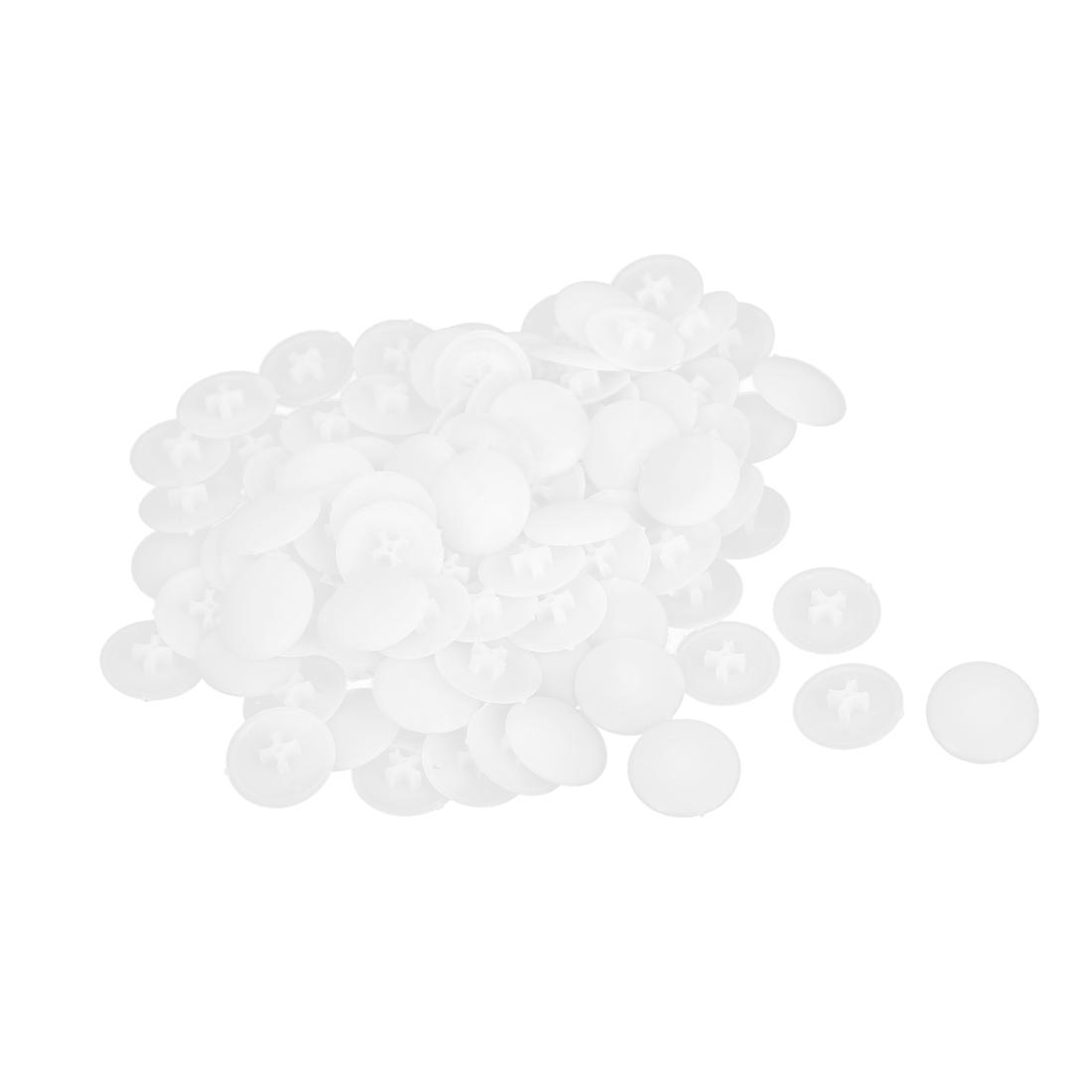 White Plastic Round Caps Furniture Press Fit Pozi Bolts Screws Cover 100pcs