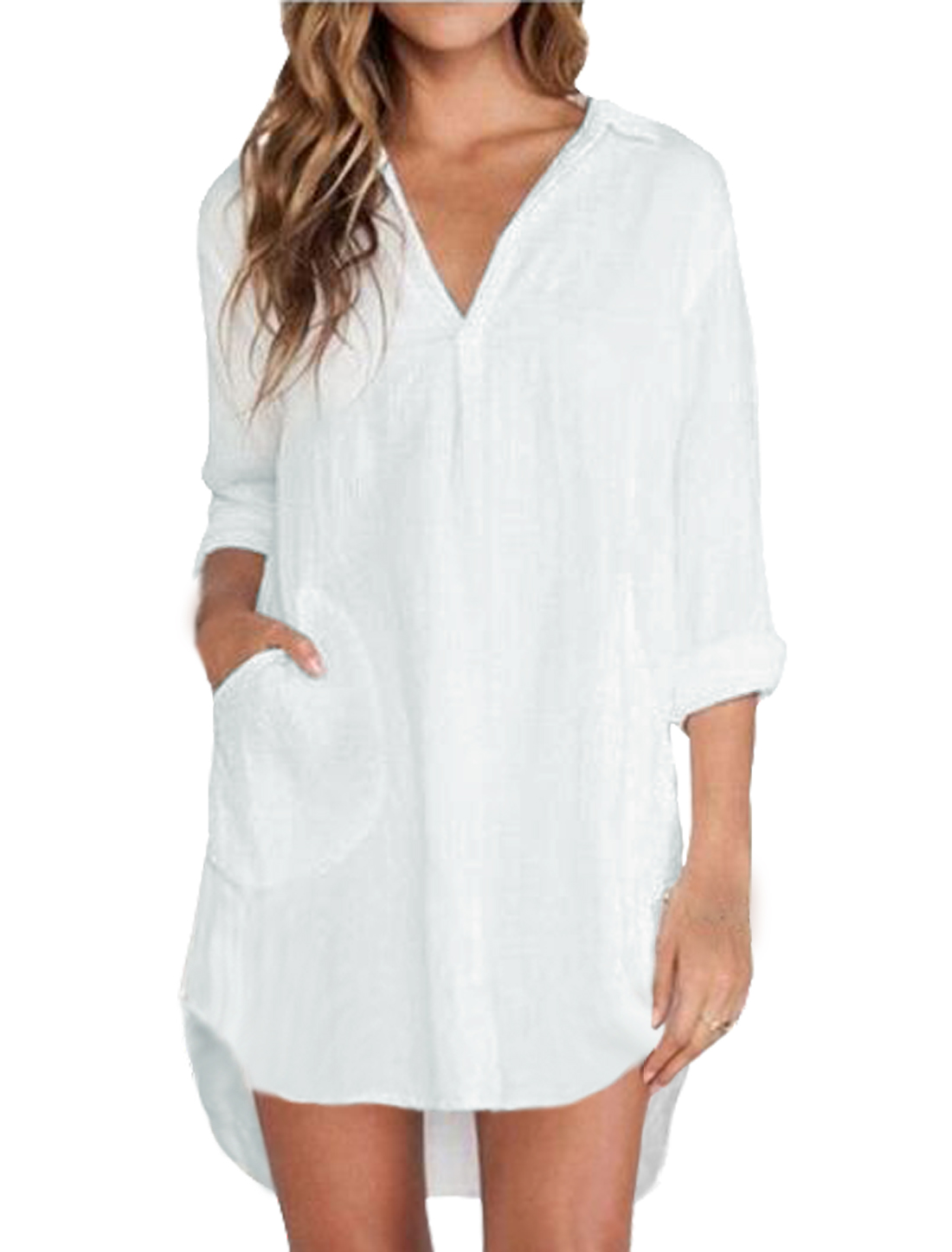 Ladies Long Sleeve Turn Down Collar Button Down Casual Tunic Shirt White S