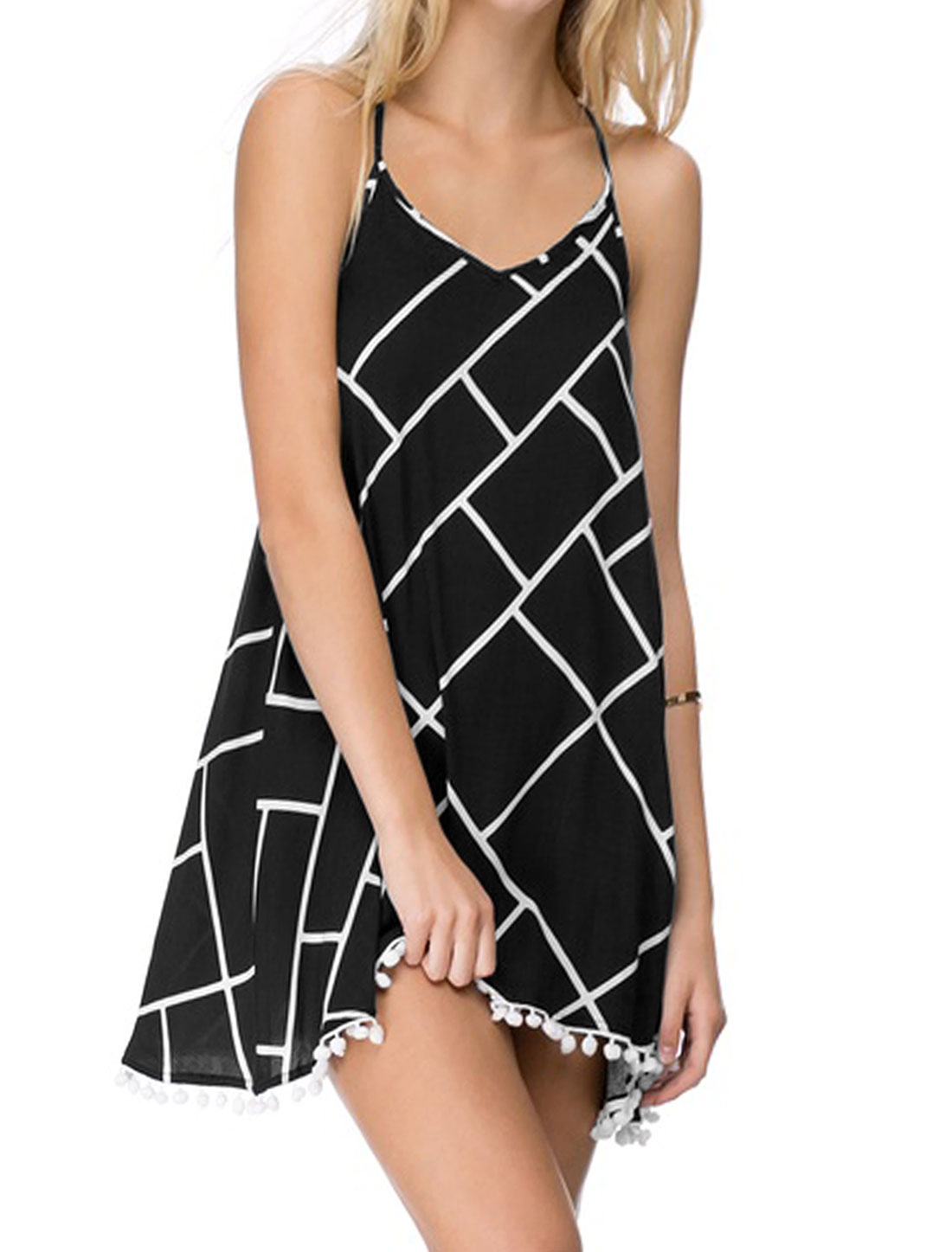 Women Scoop Neck Open Back Geometric Prints Cami Dress Black M