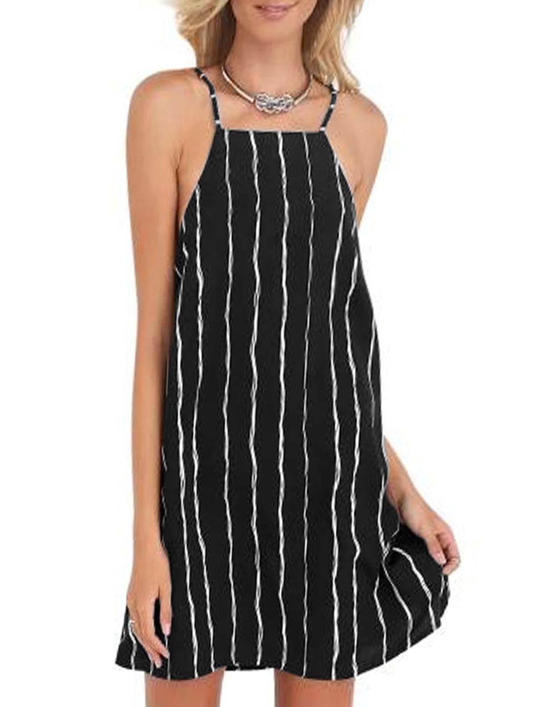 Women Spaghetti Straps Sleeveless Stripes Mini Cami Dress Black L