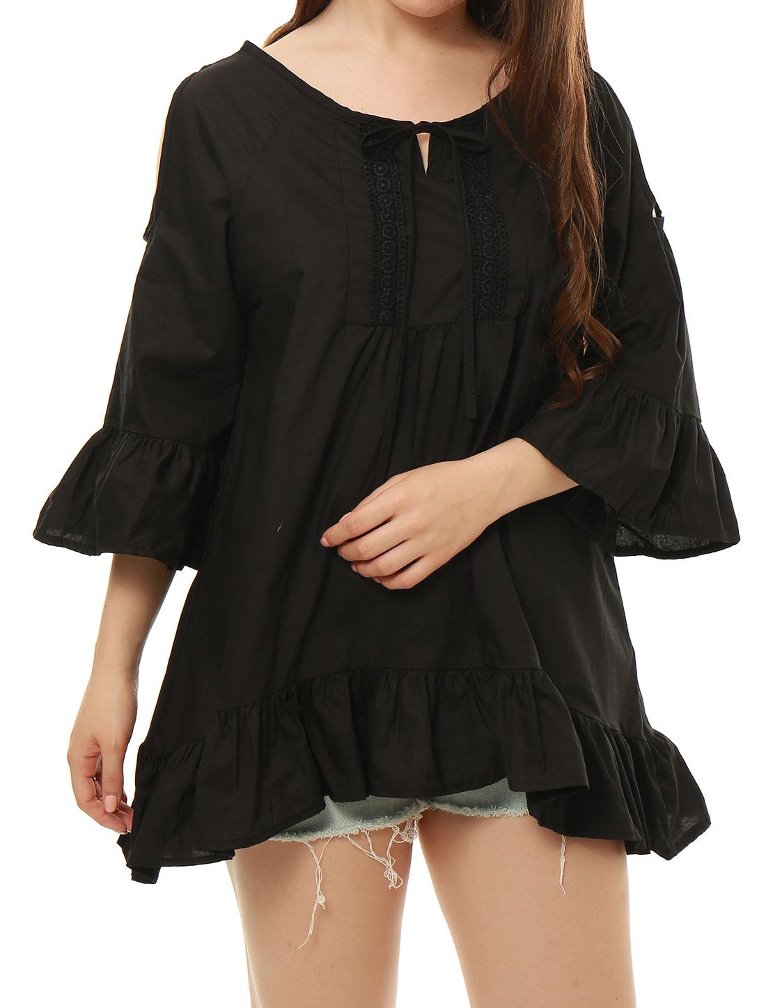 Women Cut Out Bell Sleeves Asymmetrical Hem Tunic Shirt Black S